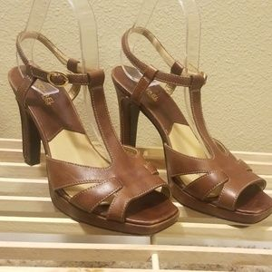 Michael Kors Brown Leather Stappy Open Toe